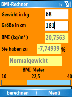 Smartphone BMI-Calculator