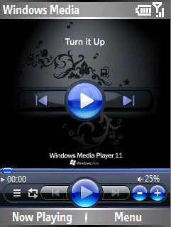 Smartphone Windows Media player skin